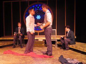 "Stars of ""Shakespeare's R&J"": John P. Cox, Zach Palumbo, Michael Emery Fox and Joe Soriano (Photo by Eva Nel Brettrager)"