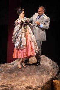 Sofia Jean Gomez as Lady Capulet and Cornell Womack as Lord Capulet. (Photo by JIm Cox)