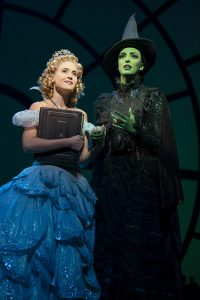 Allison Bailey as Glinda with Talia Suskauer as Elphaba. (Photo by Joan Marcus)