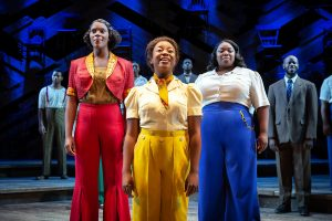 "Shug Avery (Sandie Lee), left, Celie (Mariah Lyttle), center, and Sofia (Chédra Arielle) lead the cast of ""The Color Purple."" (Photo by Jeremy Daniel)"