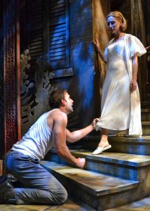 Stanley Kowalski (Danny Gavigan) pleads with his wife, Stella (Annie Grier) to forgive him in Palm Beach Dramaworks' stellar production of A Streetcar Named Desire. (Photo by Samantha Mighdoll)