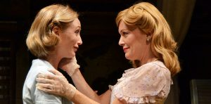 Blanche Dubois, right (Kathy McCafferty) embraces her sister Stella (Annie Grier). (Photo by Samantha Mighdoll)