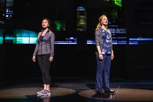"Two mothers - Cynthia Murphy (Claire Rankin) and Heidi Hansen (Jessica E. Sherman) - inquire ""Anybody Have a Map?"" that opens ""Dear Evan Hansen."" (Photo by Matthew Murphy)"