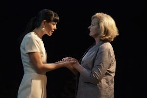 "Gina (Zoë Winters), left, with Teresa (Michele Pawk) in ""Heroes of the Fourth Turning"" by Will Arbery. (Photo by Joan Marcus)"