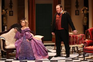 "Rachel Pickup and Colin McPhilamy in ""London Assurance."" (Photo by Carol Rosegg)"