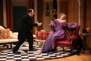 "Colin McPhilamy (Sir Harcourt Courtly) and Rachel Pickup (Lady Gay Spanker) in ""London Assurance."" (Photo by Carol Rosegg)"