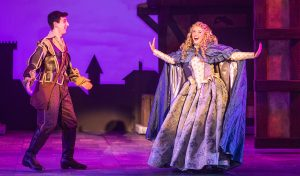 "Nigel Bottom (Richard Spitaletta) falls for Portia (Maggie Windler) in ""SomethingRotten!"" (Photo by Brittany Werner)"