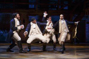 """Hamilton"" cast members Daveed Diggs, Okieriete Onaodowan, Anthony Ramos and Lin-Manuel Miranda. (Photo by Joan Marcus)"