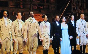 """The cast of """"Hamilton"""" during encores. (Screenshot ©2020 Disney Pictures)"""