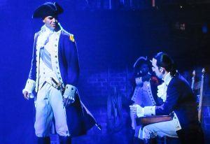 Christopher Jackson as General George Washington, left, with Lin-Manuel Miranda as Alexander Hamilton. (Screenshot ©2020 Disney Pictures)