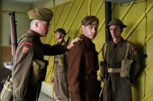 David Kross, center, as prisoner of war, Bernd Trautmann. (Courtesy of Memnesha Films)