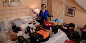 "Living in a virtual sea of shoes, Haley (Andréa Burns) tells all about her ""Bad Dates."" (Screenshot)"