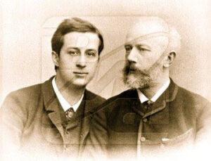 "Tchaikovsky, right, with his nephew ""Bob."""
