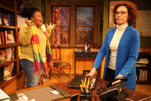 """Zoe (Rachel Michelle Bryant) explodes at her professor, Janine Bosco (Lisa Kay King) in """"The Niceties."""" (Photo by Matthew Tippins)"""