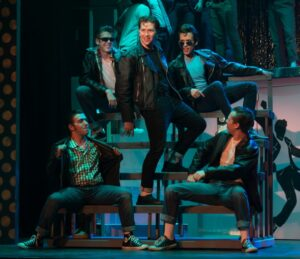 The T-Birds, led by Danny Zuko (Cannon Jewel) in center. (Photo courtesy Rivertown Theaters for the Performing Arts)