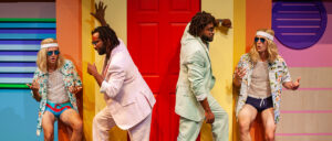 """Dromio of Syracuse (Matthew Raetz), left, with Antiopholus of Syracuse (Mack Guillory III), second from left, with Antipholus of Ephesus (Michael Forest), second from right, and Dromio of Ephesus (Reid Williams) in """"The Comedy of Errors."""""""