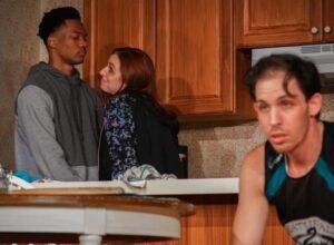 Maddox (Joshua Lyons) shares a moment with his ex-girlfriend, Ainsley (Melissa Bibliowicz) while Landon (Brandon Hoffman) looks away. (Photo by Olimac Media)