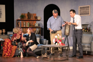 Alan Raleigh (Jake Wynne Wilson), right, reacts as Michael Novak (David Haydel, Jr.), center, looks on and Veronica Novak (Jennifer Schemke) and Annette Raleigh (Reagan Lincoln) laugh at his expense. (Photo by Joshua Frederick)