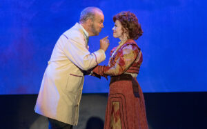 """Horace Vandergelder( Joel Rainey) confronts Dolly Levi (Ashley Smetherman Lemmler) in """"Hello, Dolly!,"""" finishing a shortened run for Rivertown Theaters."""